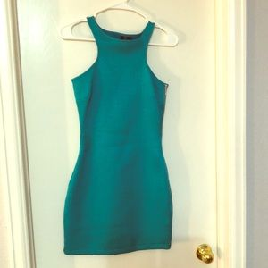 Teal green fitted mini dress